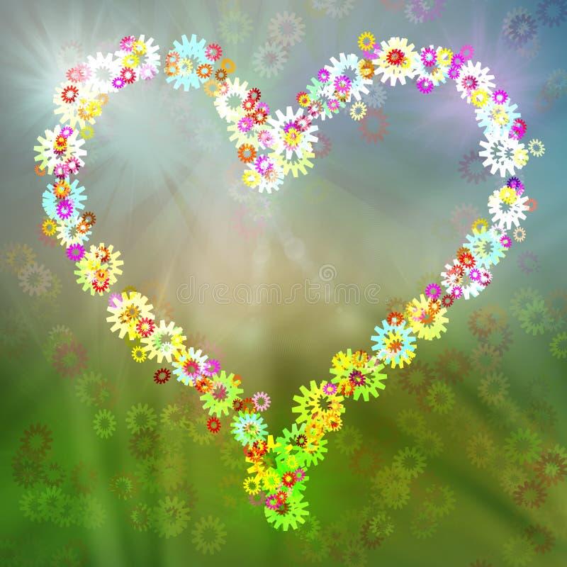 Abstrakt hjärta blommar kugghjulvykortet, färgrik bakgrund royaltyfri illustrationer