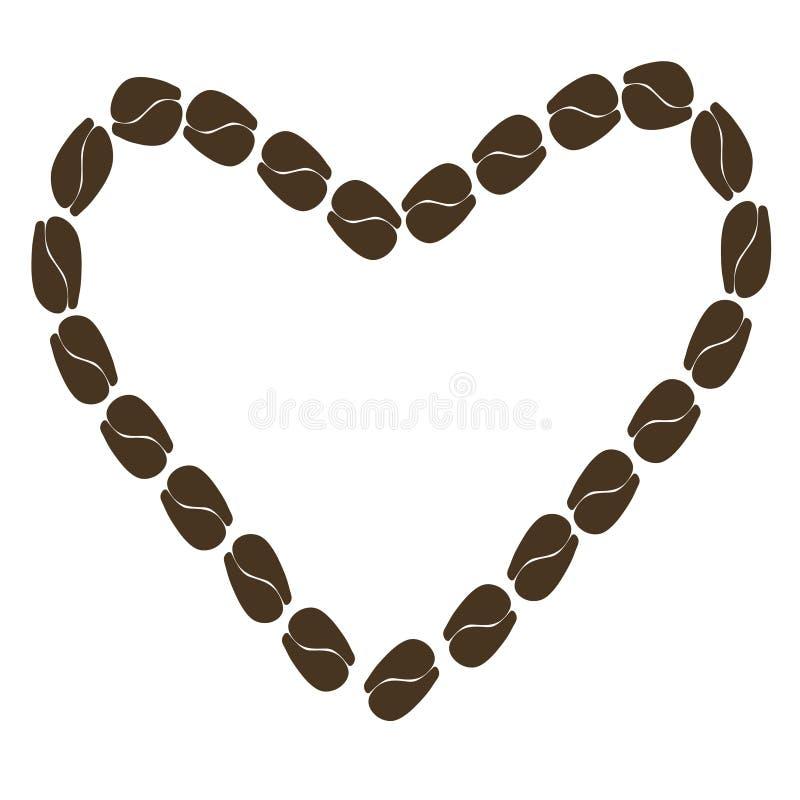 Abstrakt hjärta för illustration av kaffebönor vektor illustrationer