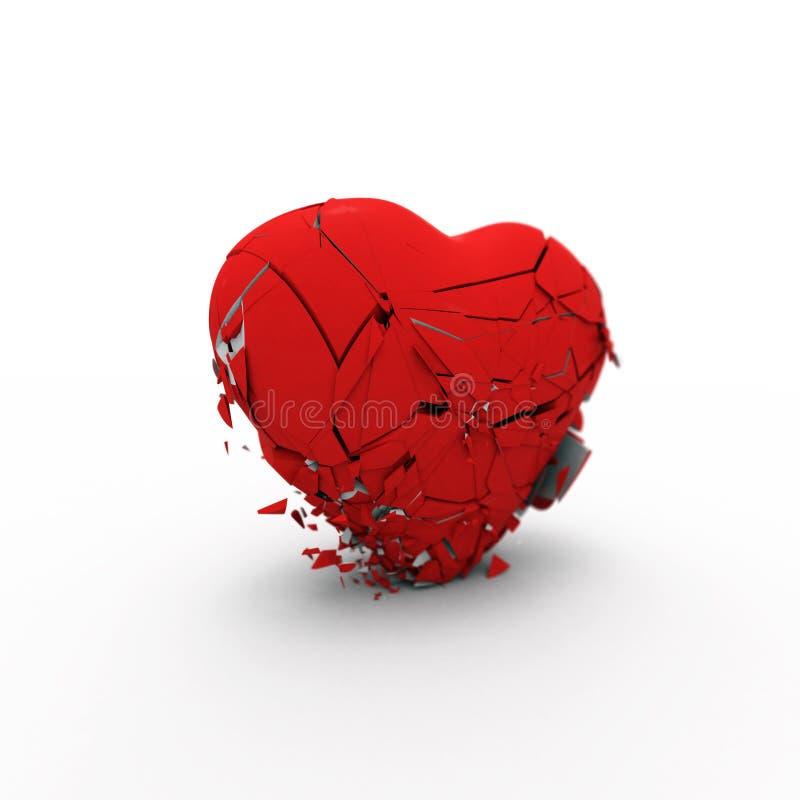 Abstrakt hjärta kollapsar under dess egen tolkning för vikt 3d royaltyfri illustrationer