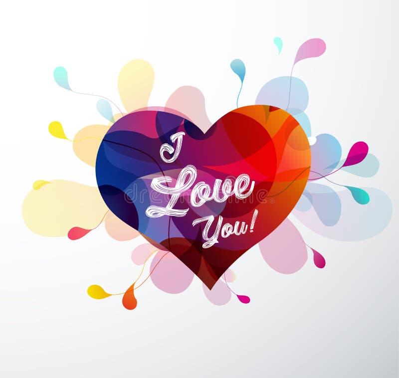 Abstrakt hjärta med färgrika former och den skriftliga handen älskar jag dig royaltyfri illustrationer