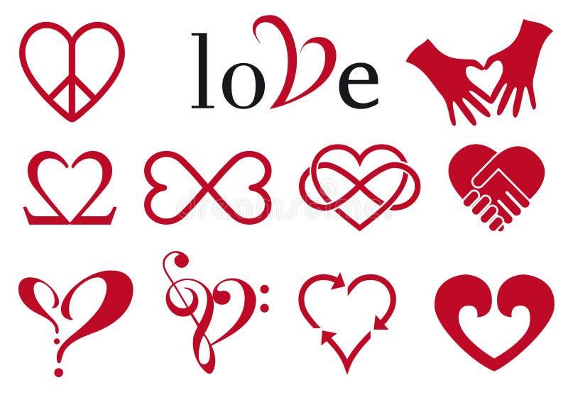 Abstrakt hjärtadesigner, vektoruppsättning stock illustrationer