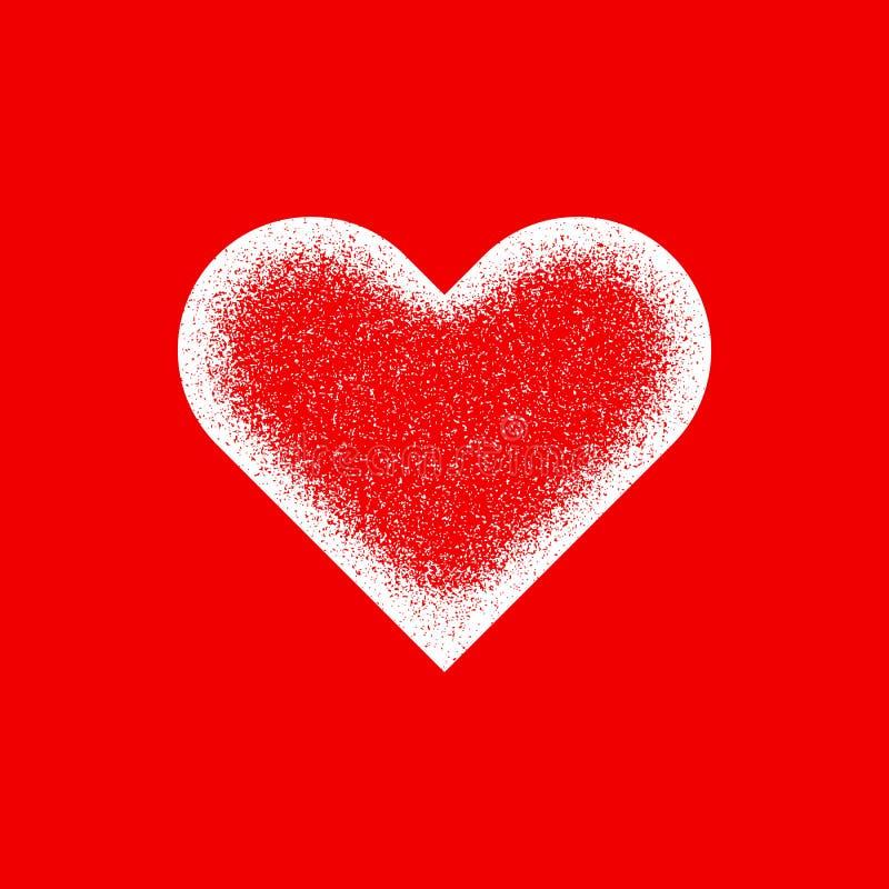 Abstrakt hjärtatecken för vit med korntextur vektor illustrationer