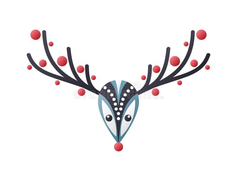 Abstrakt hjorthuvudillustration för jul royaltyfri illustrationer