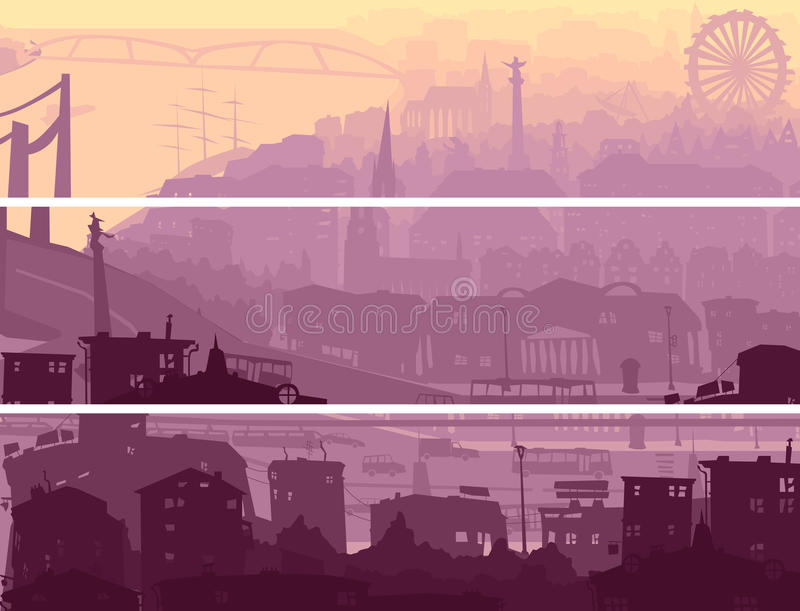 Abstrakt horisontalbaner av storstaden i solnedgång. stock illustrationer