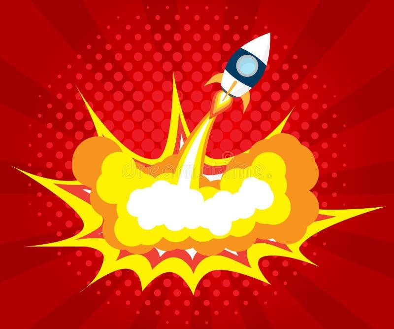 Abstrakt humorbok för raketlanseringsbang, popkonst royaltyfri illustrationer