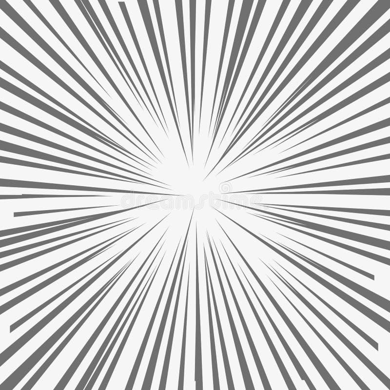 Abstrakt humorbokexponeringsexplosion, radiella linjer bakgrund Vektorillustration för superherodes royaltyfri illustrationer