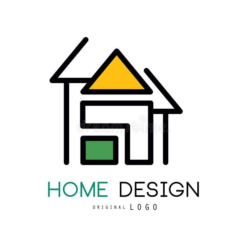 Abstrakt hus för logodesign Det original- vektoremblemet för shoppar hem- dekorativa objekt, inredekoratörer och stock illustrationer