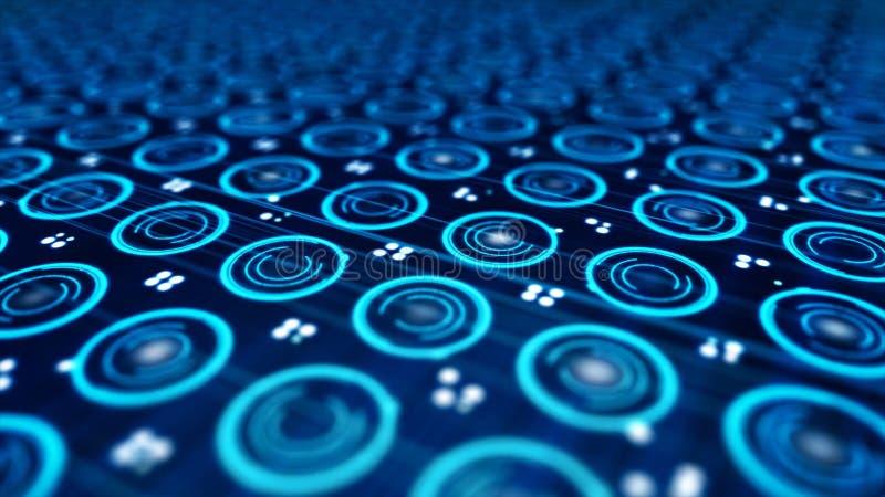 Abstrakt i unosić się kropki, colourful, błękit, bezszwowa pętla, odgórny widok Zamyka w górę abstrakcjonistycznego elektroniczne ilustracja wektor