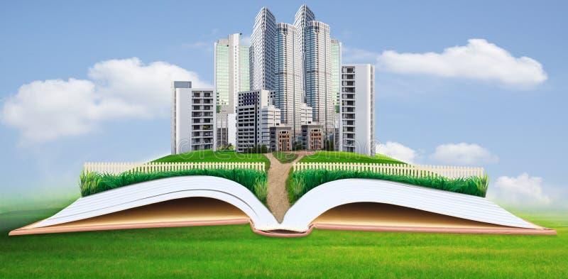 Abstrakt idé av modern byggnad i fält för grönt gräs royaltyfri bild