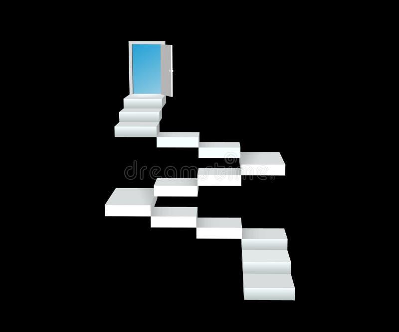 Abstrakt idérik begreppssymbol av trappuppgången för rengöringsduk och mobila applikationer som isoleras på bakgrund illustration stock illustrationer