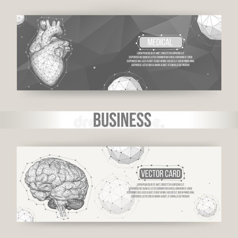 Abstrakt idérik begreppsvektorbakgrund av den mänskliga hjärnan och hjärtan Polygonal designstilbrevhuvud och broschyr stock illustrationer
