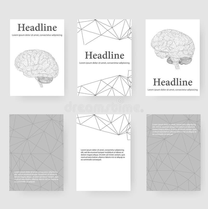 Abstrakt idérik begreppsvektorbakgrund av den mänskliga hjärnan Polygonal designstilbrevhuvud och broschyr för royaltyfri illustrationer