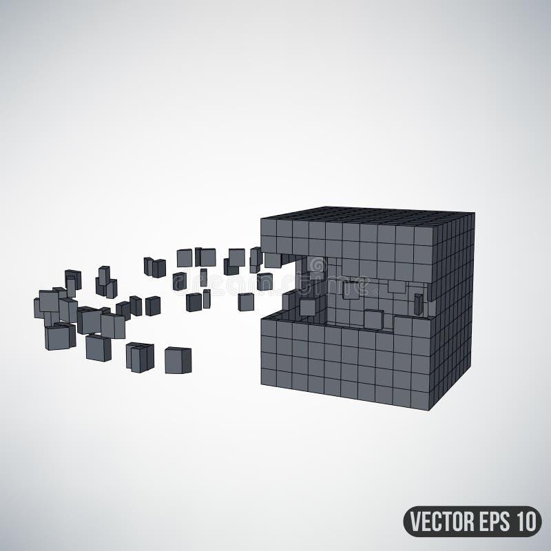 Abstrakt idérik begreppsvektorbakgrund av geometriska former - kub Designstilbrevhuvud och broschyr för vektor illustrationer
