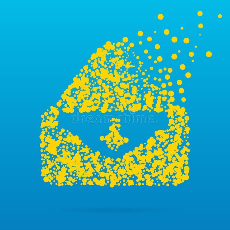 Abstrakt idérik begreppsvektorsymbol av kuvertet för rengöringsduk och mobilen app som isoleras på bakgrund Konstillustration stock illustrationer