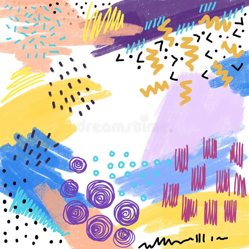 Abstrakt idérik ram med utdragna former för hand och texturer, mallar för inbjudan i Memphis hipsterdesign Kopieringsutrymmebackg vektor illustrationer