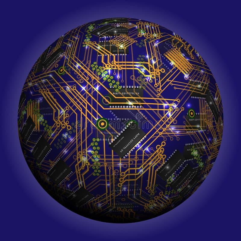 Abstrakt ihålig sfär, chip, microcircuit, silikonchip, mikrochips vektor illustrationer