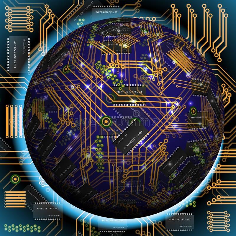 Abstrakt ihålig sfär, chip, microcircuit, silikonchip, mikrochips stock illustrationer