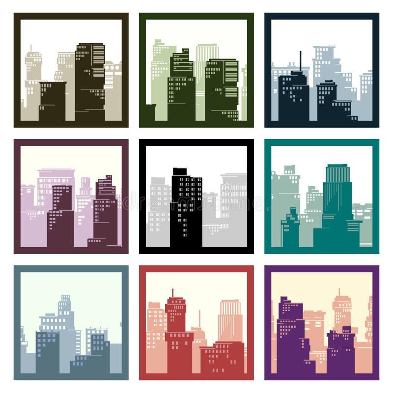 Abstrakt ikon miasta kwadraty obramiający wieżowowie ilustracja wektor