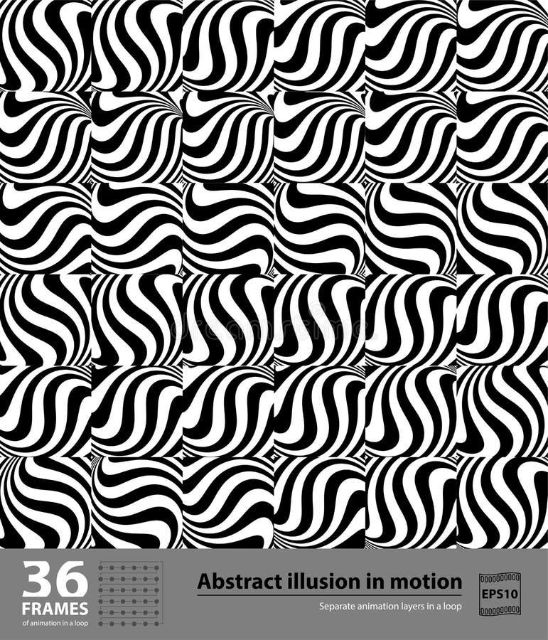 Abstrakt illusion i rörelse 36 ramar Hypnotisk svartvit beståndsdel i rörelse Separata animeringlager i en ögla vektor illustrationer