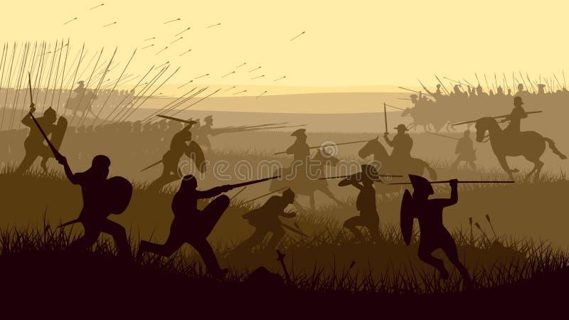 Abstrakt illustration av den medeltida striden. stock illustrationer