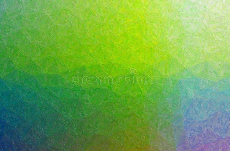 Abstrakt illustration av gröna, blåa och purpurfärgade Impasto med slaglängdbakgrund för liten borste royaltyfria bilder