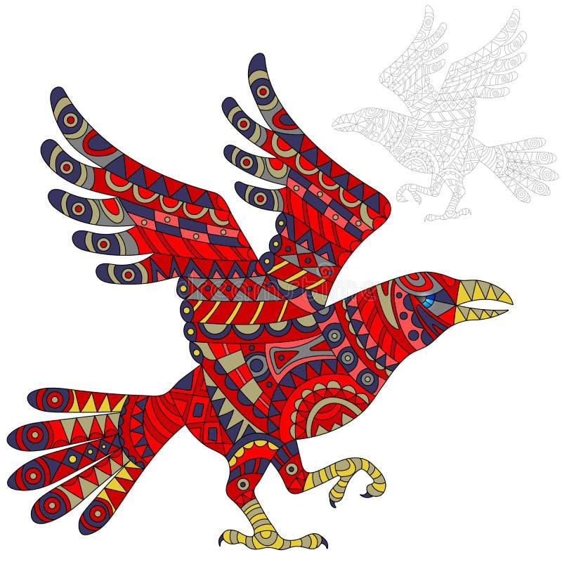 Abstrakt illustration av rött korpsvart, fågeln och målat dess översikt på vit bakgrund, isolat vektor illustrationer