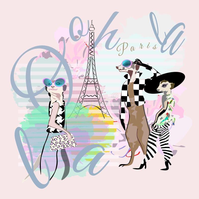 Abstrakt illustration av roligt mode ett och två suricate Meerkat i Paris royaltyfri illustrationer