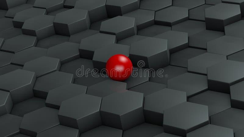 Abstrakt illustration av svarta sexhörningar av det olika formatet och röda bollen som ligger i mitten Idén av unikhet framförand royaltyfri illustrationer