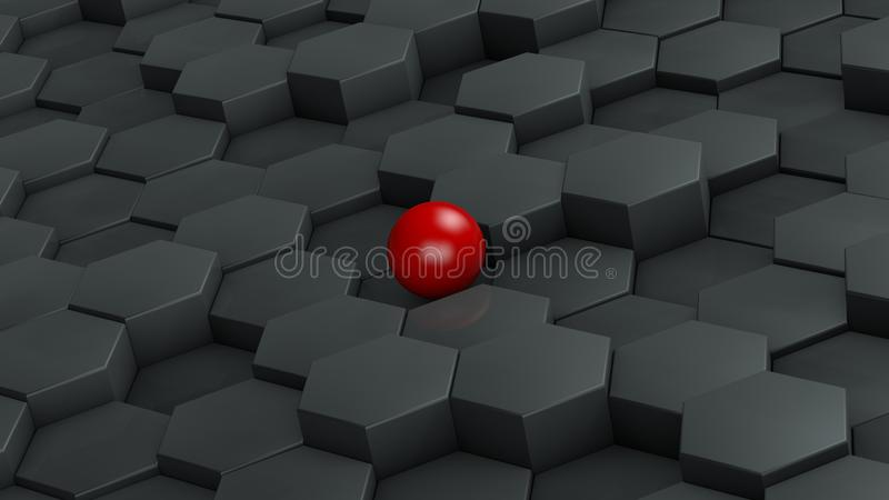 Abstrakt illustration av svarta sexhörningar av det olika formatet och röda bollen som ligger i mitten Idén av unikhet framförand stock illustrationer