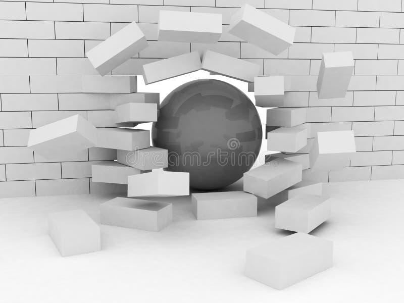 Abstrakt illustration av tegelstenväggen som är bruten, genom att haverera bollen vektor illustrationer