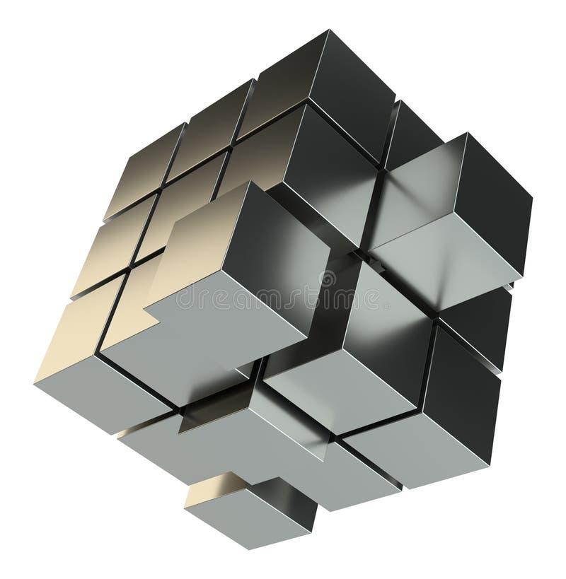 Abstrakt illustration 3d av kuben som monterar från kvarter stock illustrationer