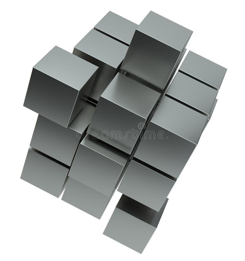 Abstrakt illustration 3d av kuben som monterar från kvarter vektor illustrationer