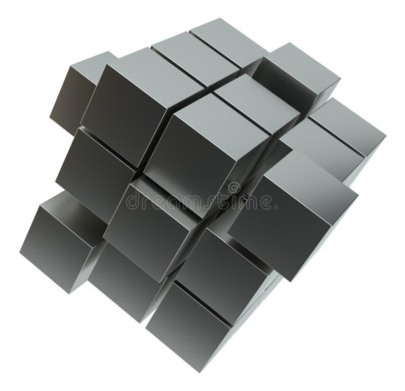 Abstrakt illustration 3d av kuben som monterar från kvarter royaltyfri illustrationer