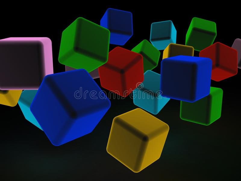 Abstrakt illustration 3d av kuber stock illustrationer