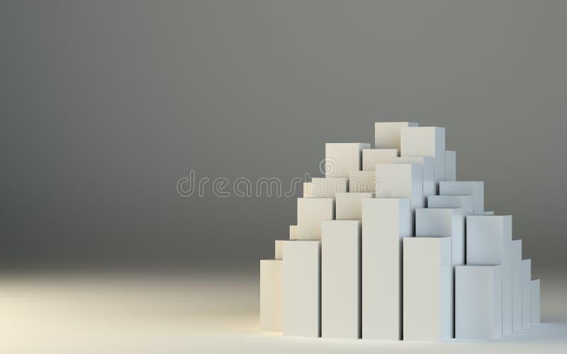 Abstrakt illustration 3d av vita askar vektor illustrationer