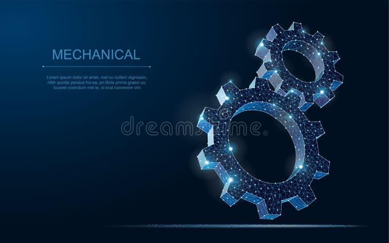 Abstrakt illustration för kugghjul 3d för vektorwireframe två modern på mörker - blå bakgrund vektor illustrationer