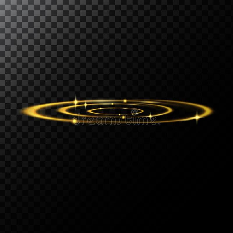 Abstrakt illustration för vektor av ljusa effekter i formen av guld- cirklar vektor illustrationer