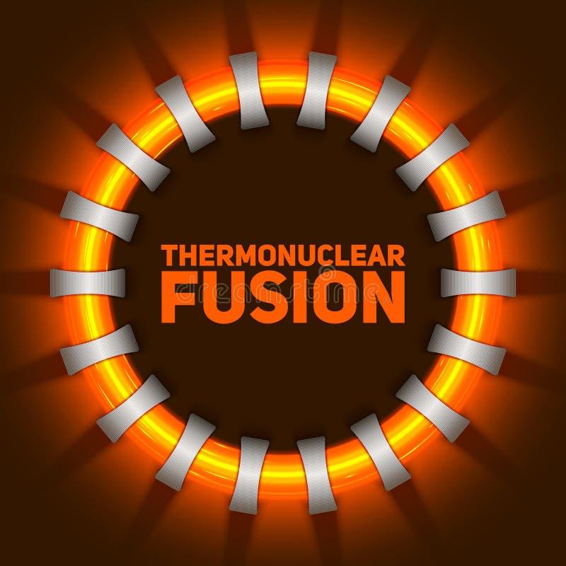 Abstrakt illustration för vektor av reaktorn för termonukleär fusion Plasmaströmmen flödar i spolar för toroidal fält vektor illustrationer