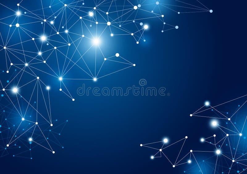 Abstrakt illustration för vektor för bakgrund för anslutning för globalt nätverk stock illustrationer