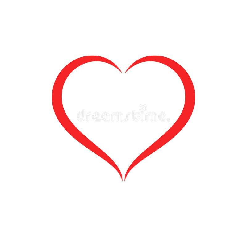 Abstrakt illustration för vektor för omsorg för hjärtaformöversikt Röd hjärtasymbol i plan stil vektor illustrationer