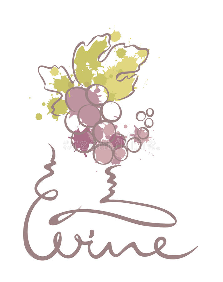 Abstrakt illustration -- grupp av druvor i vinglas vektor illustrationer