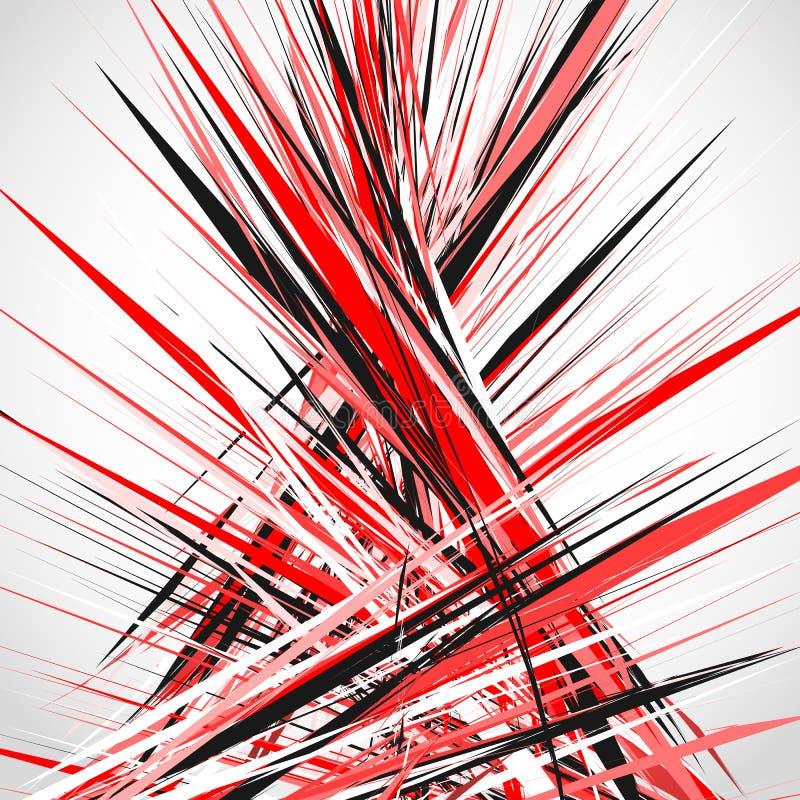 Abstrakt illustration med dynamiska grungy linjer Texturerat rött PA vektor illustrationer