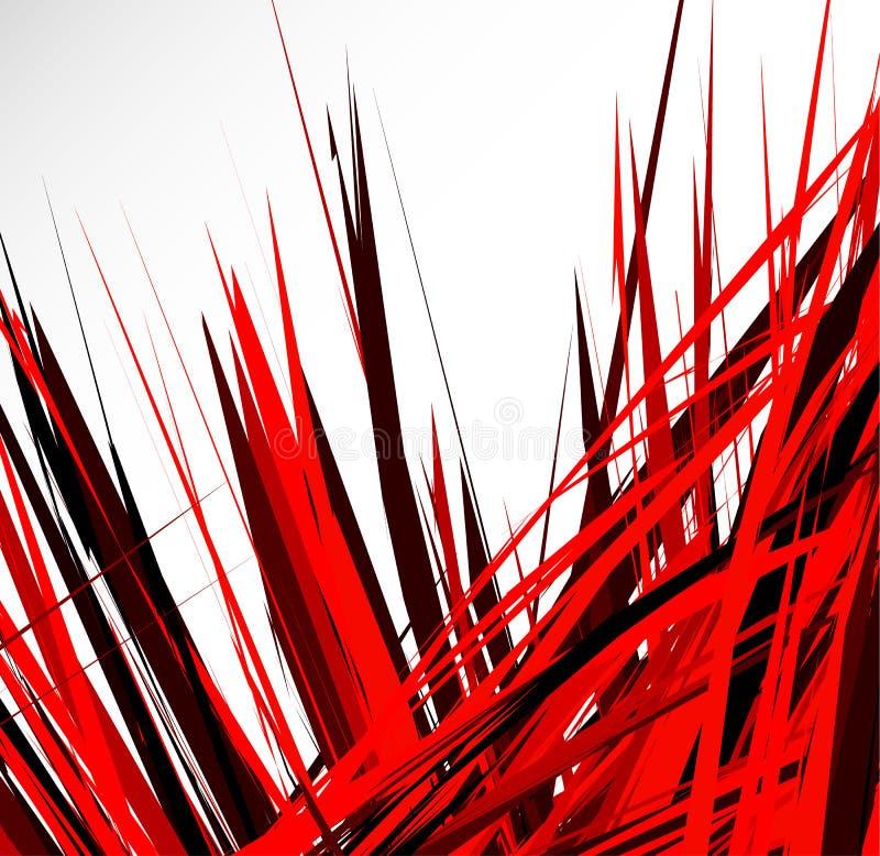 Abstrakt illustration med dynamiska grungy linjer Texturerat rött PA royaltyfri illustrationer