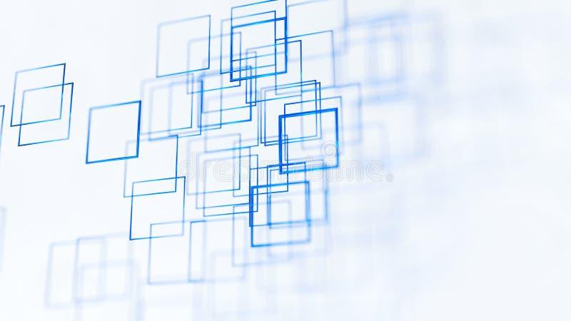 Abstrakt illustrationbakgrund, blått, fyrkanter, på den vita tolkningen för bakgrund 3d royaltyfri illustrationer