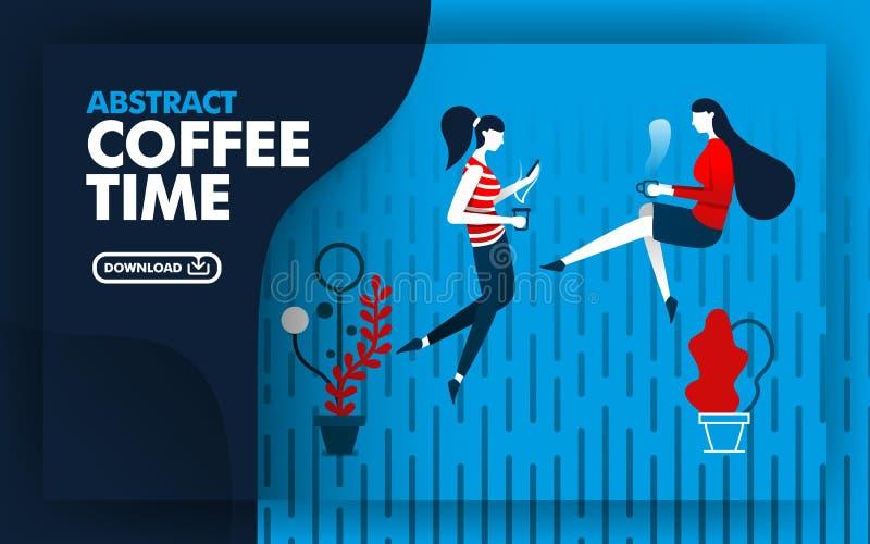 abstrakt illustrationvektor illustrationwebsitebaner med blått, mörkt - blått och rött med kaffetidtema två kvinnor var verkliga royaltyfri illustrationer