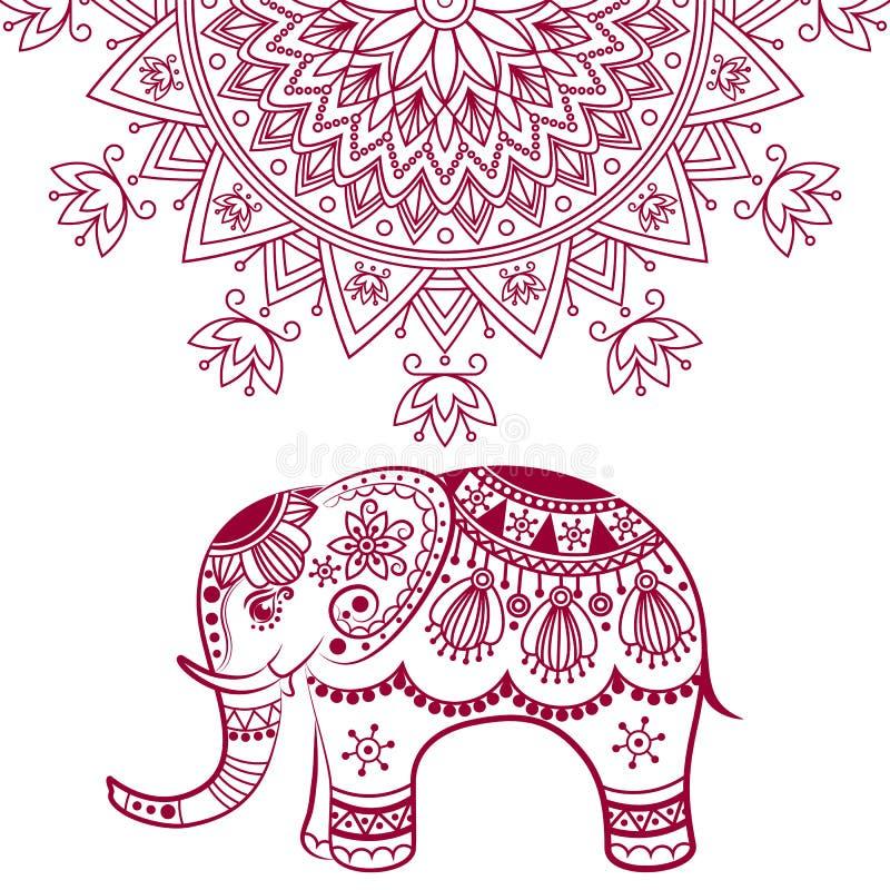 Abstrakt indisk elefant med mandalaen stock illustrationer