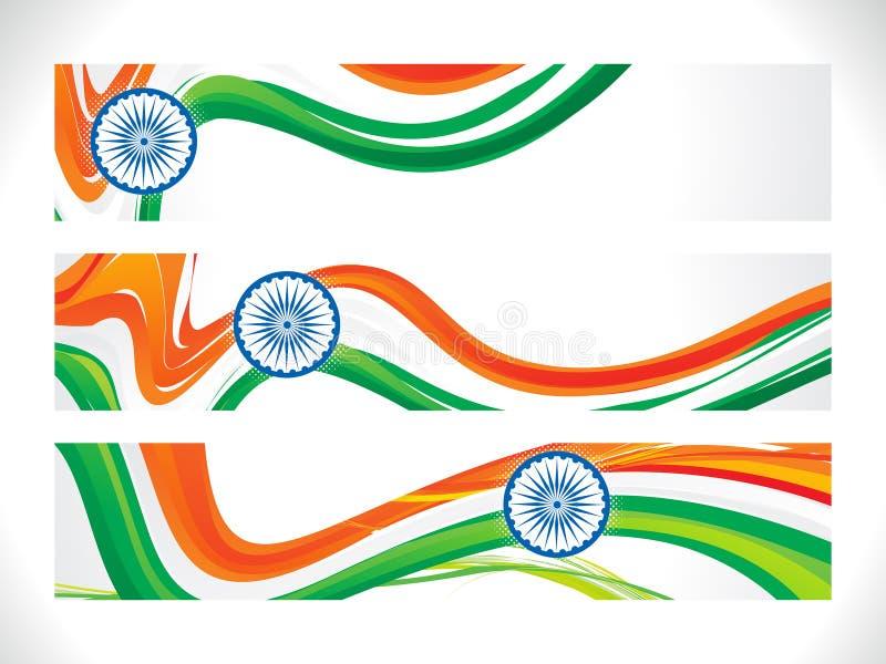 Abstrakt indiskt flaggabaner stock illustrationer