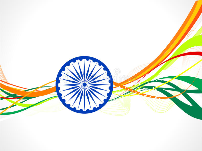 Abstrakt indiskt flaggawavebegrepp vektor illustrationer
