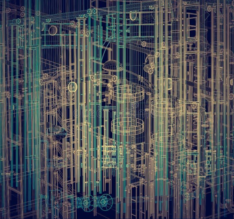 Abstrakt industriellt, teknologibakgrund Teknik fabrik stock illustrationer