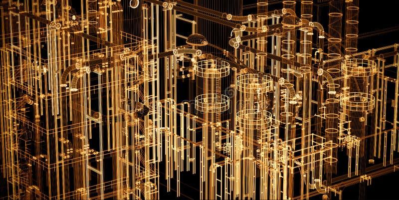 Abstrakt industriellt, teknologibanerbakgrund Teknik fabrik vektor illustrationer